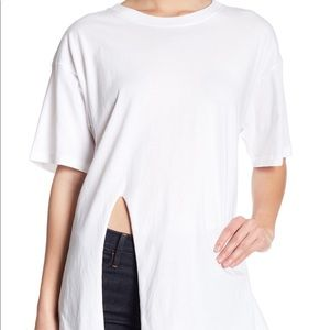 Abound White Oversized Front Slit Tee Size Medium